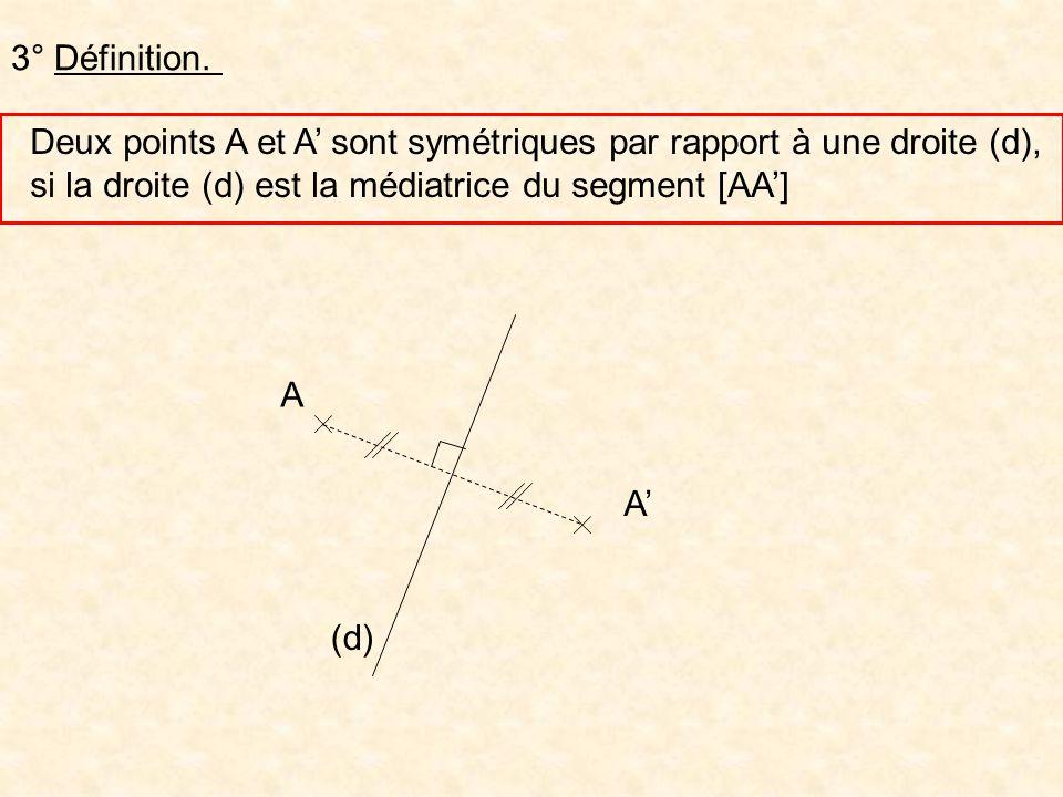 3° Définition. Deux points A et A' sont symétriques par rapport à une droite (d), si la droite (d) est la médiatrice du segment [AA']
